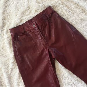 NWT Vintage High-Waist Burgundy Leather Pants